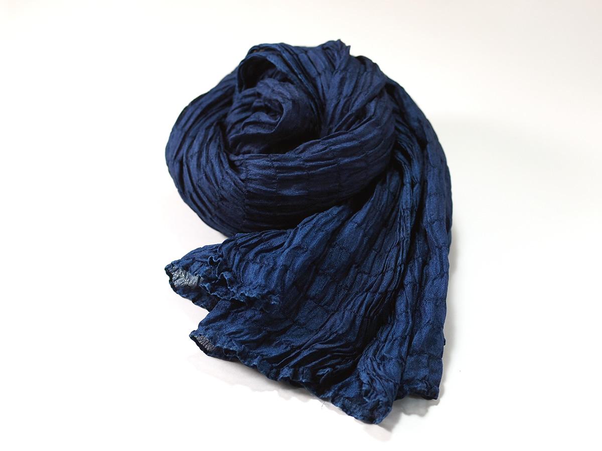 """藍染スカーフ「プランプ」/ indigo dyed scarf """"plump"""""""